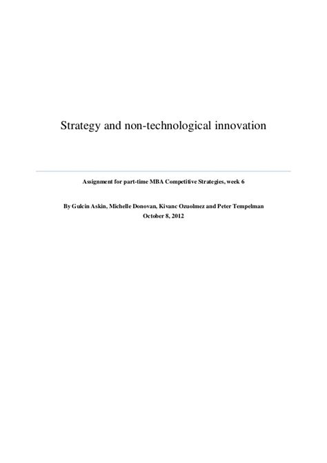 Mba Strategy And Innovation by Strategy And Non Technological Innovation