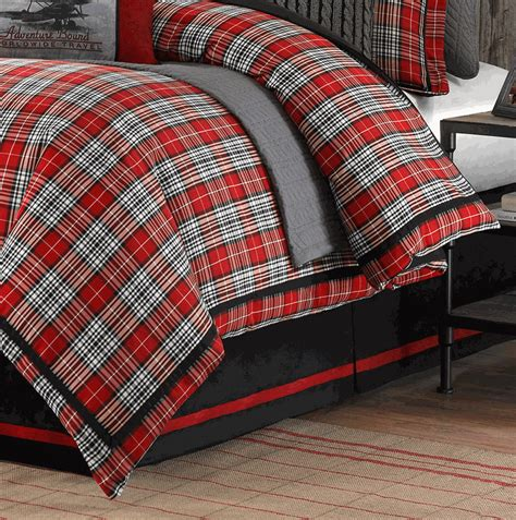 red plaid bedding williamsport lodge red plaid comforter set