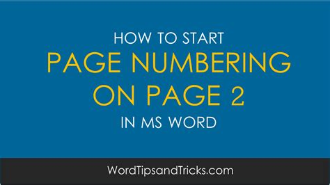 ms word start numbering with 1 on second page