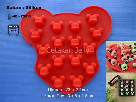 Cetakan Cokelat Puding Mickey 16 Cavity cetakan silikon cokelat puding mickey 16 cavity cetakan jelly cetakan jelly