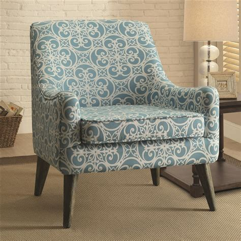 Blue Pattern Accent Chair by Vintage Inspired Blue Pattern Fabric Accent Chair By