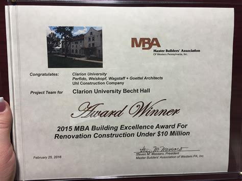 Mba Certificate by Clarion Becht Wins Master Builder S Association Award