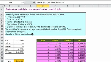 como calcular un prstamo youtube pr 233 stamo variable con amortizaci 243 n anticipada p0805