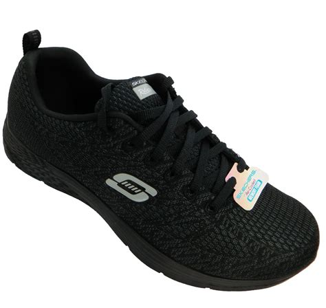 Skechers Valeris 7 skechers valeris valeris s black lace up memory foam fitness trainers new