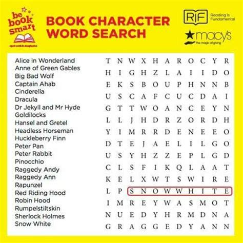 Search Book Book Character Word Search Children S Reading Character Words Search