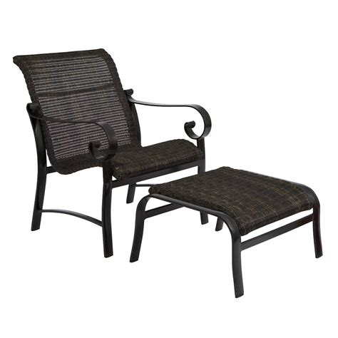 Woodard Belden Outdoor Woven Round Weave Lounge Chair With Outdoor Chair Ottoman Set