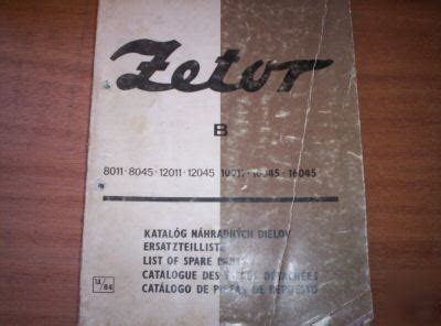 Zetor 8011 To 16045 Tractor Parts Catalogue