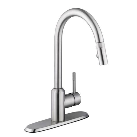 pull down kitchen faucets stainless steel schon axel single handle pull down sprayer kitchen faucet