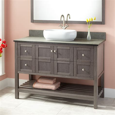 48 Quot Everett Vessel Sink Vanity Ash Gray Bathroom Bathroom Cabinets With Sink
