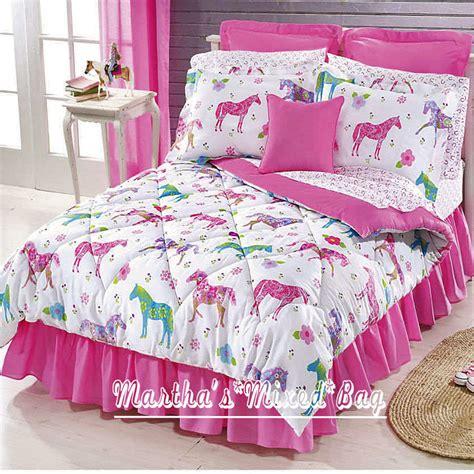 pink western pony horse girl equine bedding comforter set