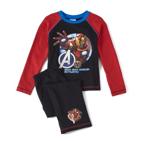 Boy And Fashion Avenger 1 marvel boy s sleeve pyjamas black clothing zavvi