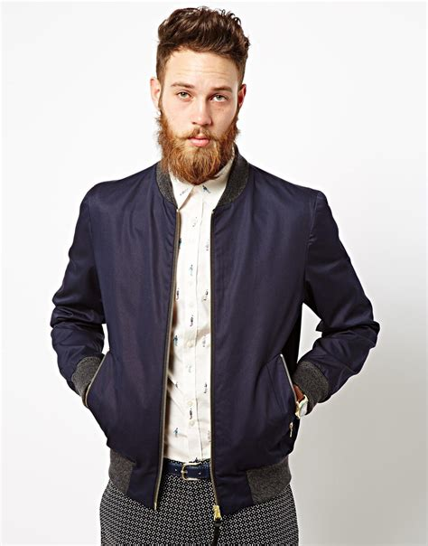 ps by paul smith bomber jacket in blue for lyst