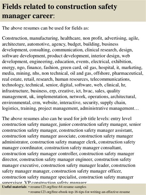 construction safety manager sle resume top 8 construction safety manager resume sles
