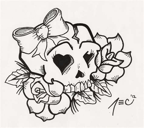 tattoo flash pages girly skull tattoo by theadrock on deviantart