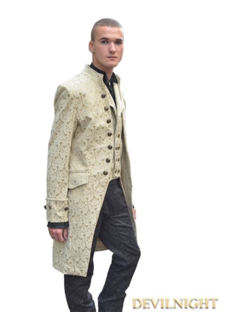 yellow devil pattern yellow alternative pattern gothic coat for men