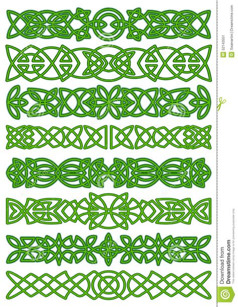 floral celtic borders with traditional ornament stock