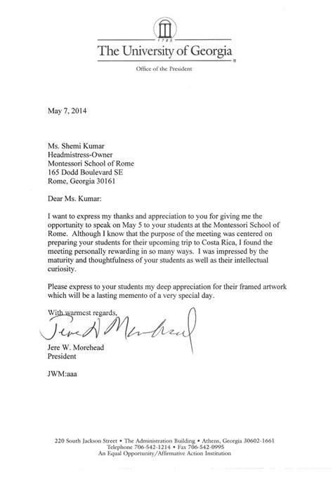 President Acceptance Letter montessori school of rome