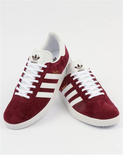 adidas gazelle trainers maroon white originals shoes mens