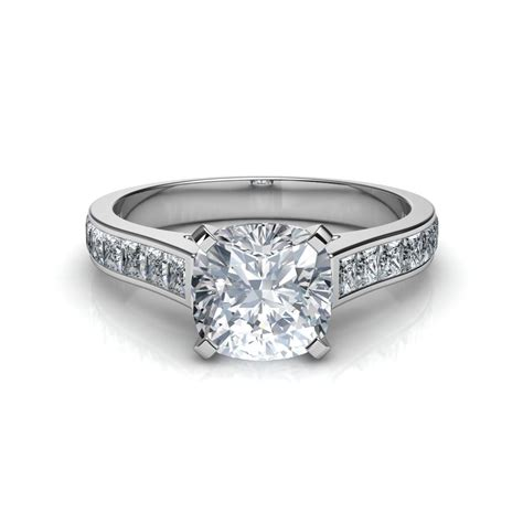 channel set cushion cut engagement ring