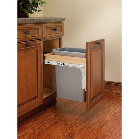 double 35 qt top mount wood pull out trash containers rev rev a shelf single 35 qt pull out top mount wood and