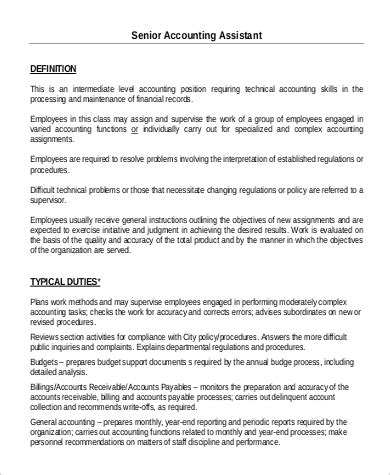 sle accounting assistant description 9 exles in pdf word