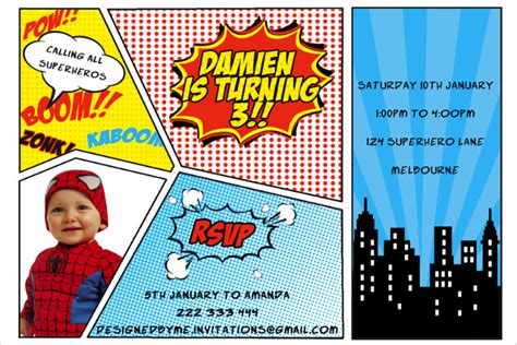 34 superhero birthday invitation templates free sle