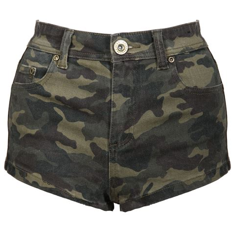 camo shorts new womens khaki green high waist camo camouflage army