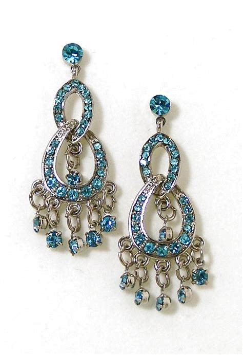 rhinestone chandelier earrings blue sapphire rhinestone chandelier earrings