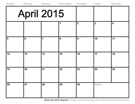 Blank 2015 Calendar Blank April 2015 Calendar To Print