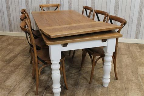 Extendable Farmhouse Dining Table extending farmhouse table with an oak top and a painted