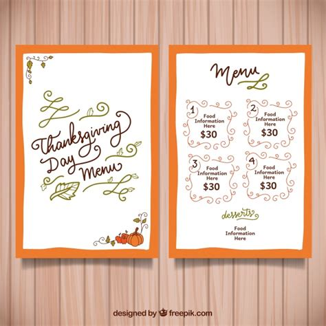 Hand Drawn Thanksgiving Menu Template Vector Free Download Menu Template For Thanksgiving