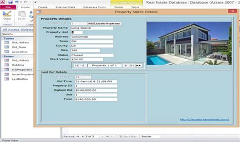 Free Access 2013 Templates microsoft access 2013 real estate database templates for