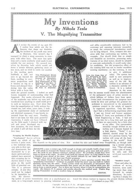Nikola Tesla My Inventions Quot The Tesla Collection Quot Quot My Inventions Part Five The