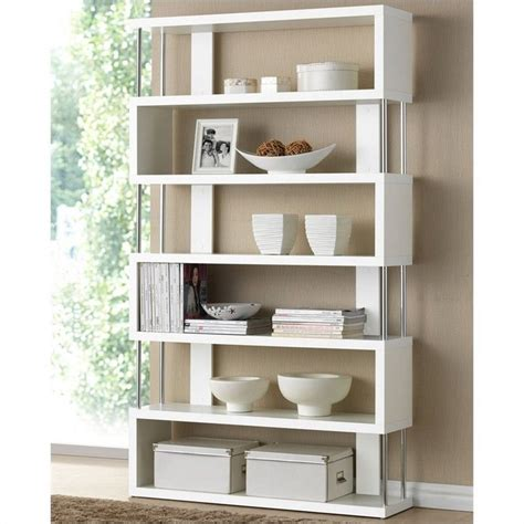contemporary white shelves baxton studio barnes modern white bookcase ebay
