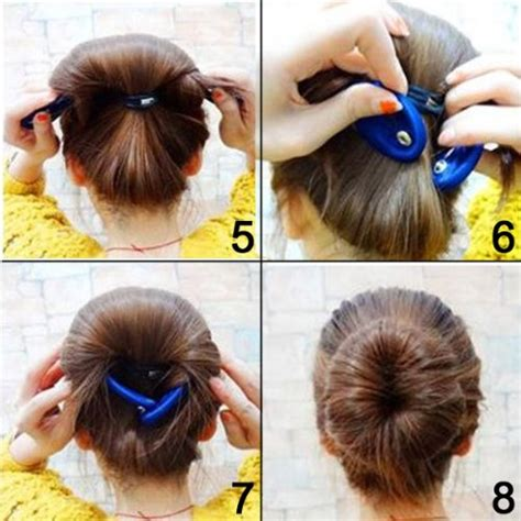 different hairstyle with a bun maker shells 2pcs classy black color cloth magic clip french