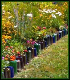 Flower Garden Border Ideas Upcycle Glass Bottles Into A Garden Border Green
