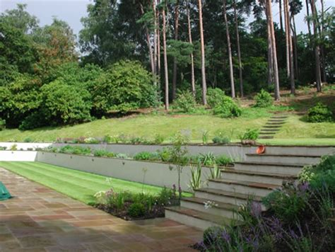 two level backyard landscaping ideas hillside garden with planted terracing