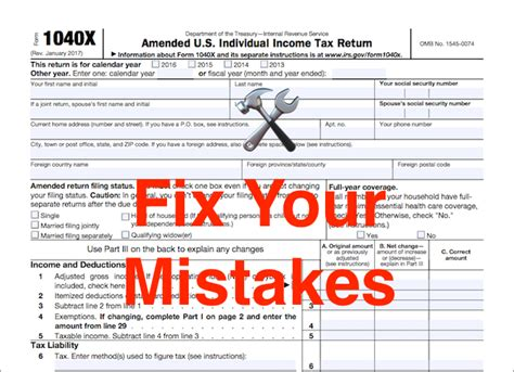 How To Fix Your Mistakes By Filing An Amended Tax Return M 1040x