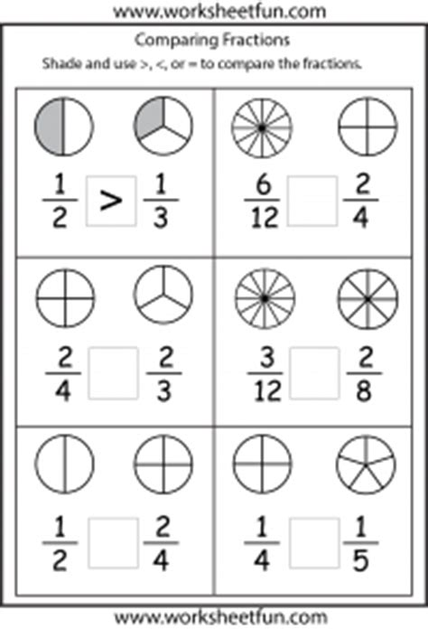comparing fractions – 4 worksheets / free printable