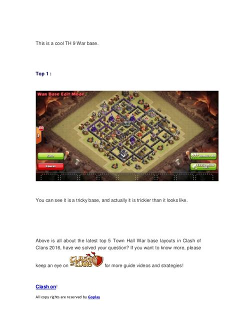 coc layout manager 2016 top 5 town hall 9 war base layouts in clash of clans