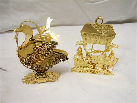1991 danbury mint gold plated christmas tree ornaments set