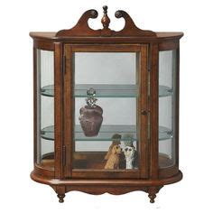 butler 3 shelf wood mirror concave curved glass curio