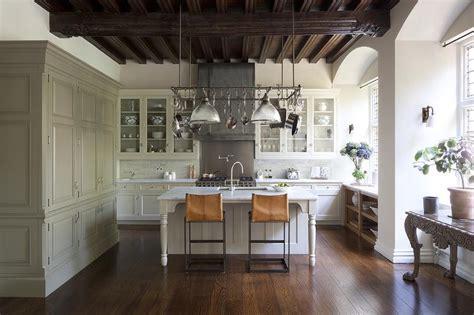 large pot rack  island transitional kitchen