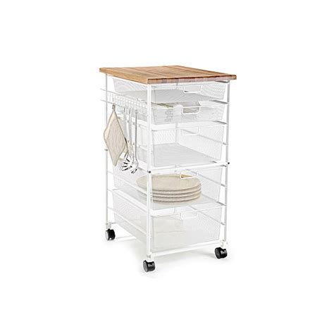 Container Store Kitchen by White Elfa Mesh Kitchen Cart The Container Store