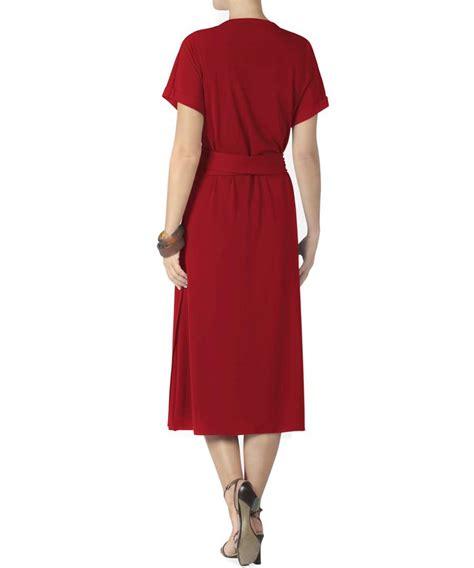 wrap around british brazilian wrap around dress in red designer