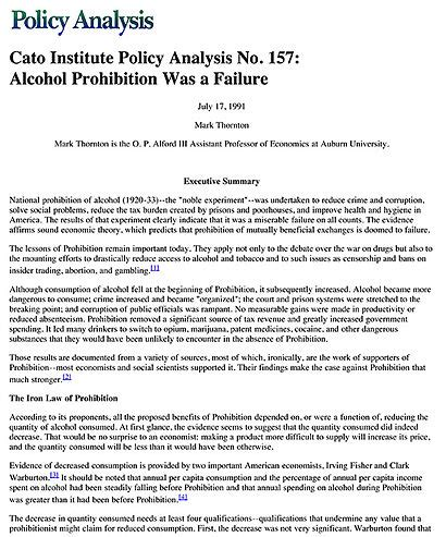 writing a policy analysis paper prohibition was a failure cato institute