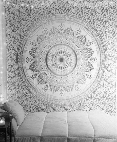 Cotton Duvet Cover Queen Indian Mandala Tapestry Queen Gray Dorm Room Wall Tapestry