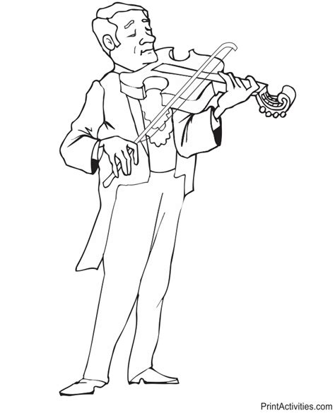 playing violin coloring page violinist coloring page playing his instrument