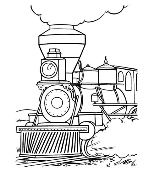 train and railroad coloring pages steam locomotive