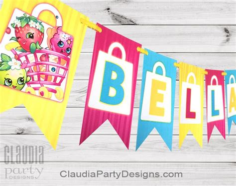 Bunting Flag Shopkins Bendera Happy Birthday Shopkins Custom Nama personalized shopkins birthday banner shopkins banner designs
